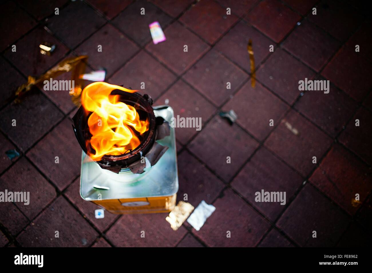 Directly Above Shot Of Open Flame - Stock Image