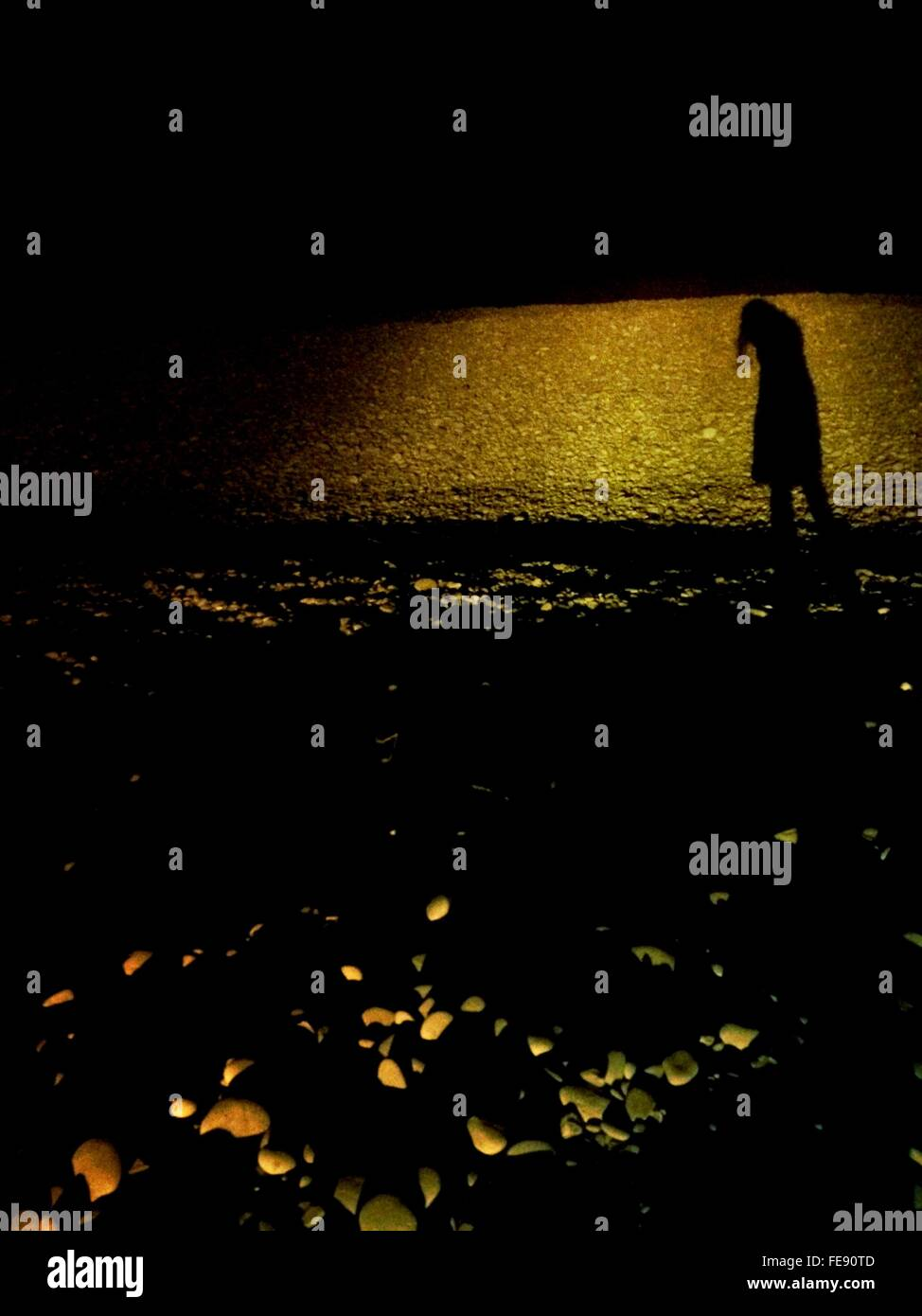 Silhouette Woman On Beach - Stock Image