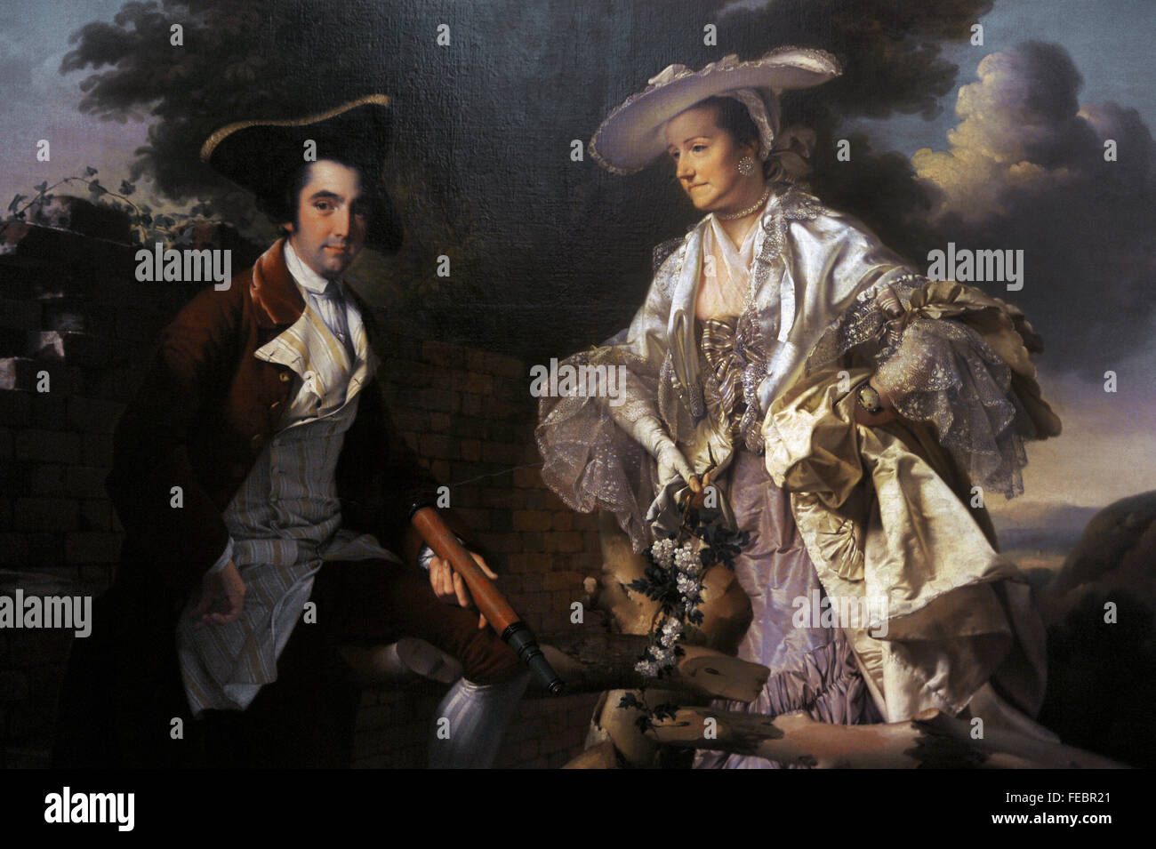 Peter Perez Burdett (c.1734-1793). English cartographer and artist. Peter Perez Burdett and his first wife Hannah, Stock Photo