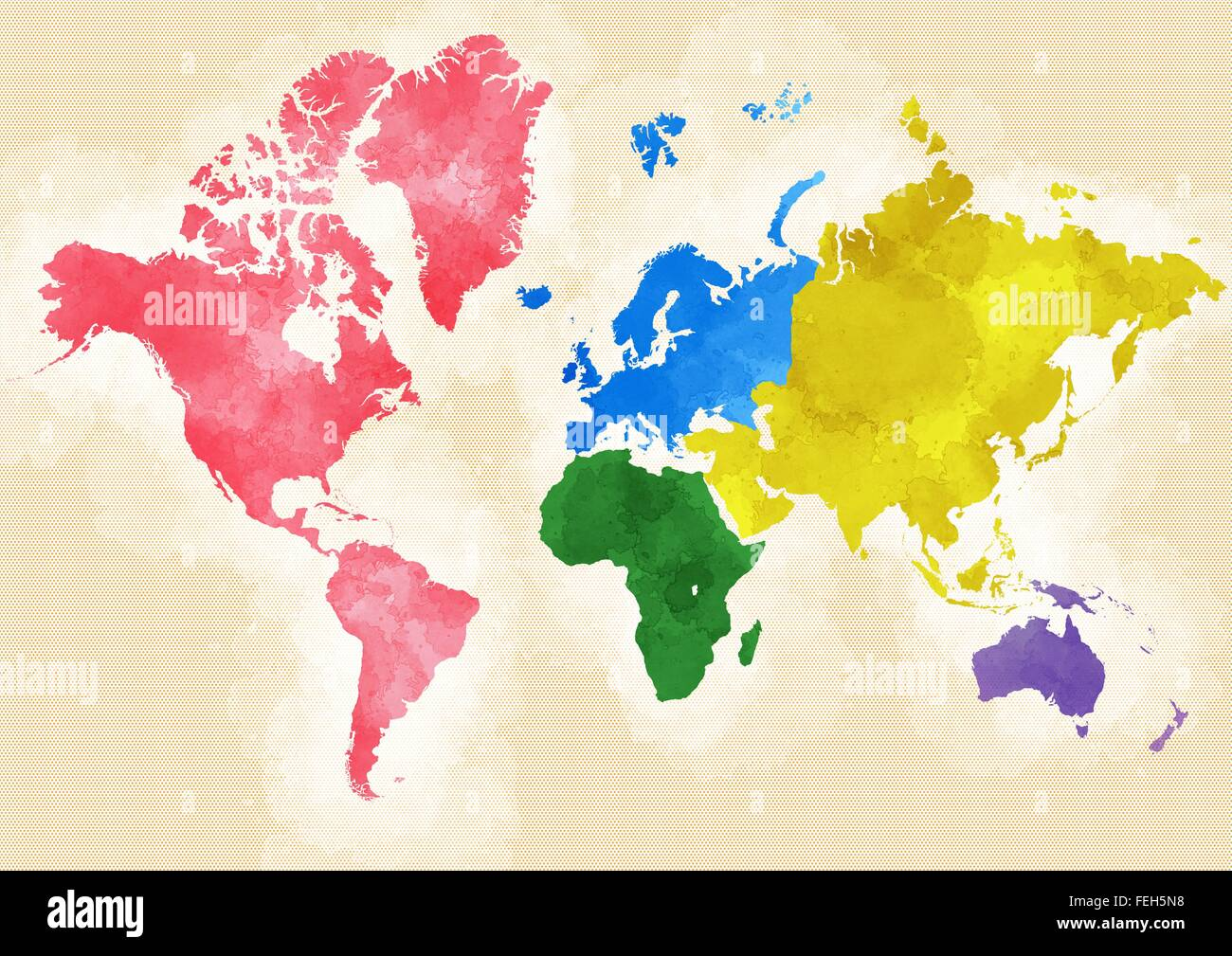 World map designed illustrated brushstrokes division by continents world map designed illustrated brushstrokes division by continents gumiabroncs Image collections