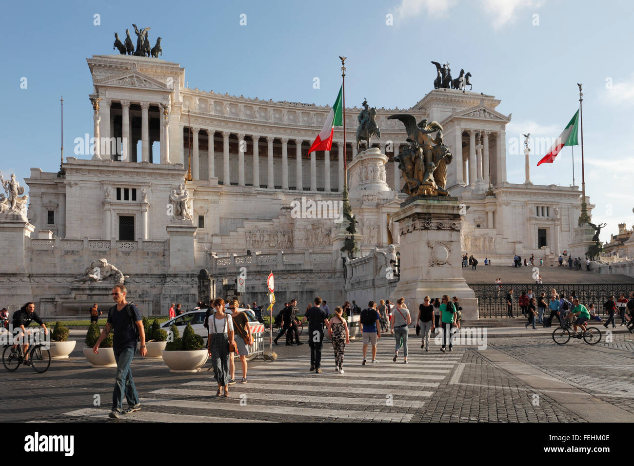 The National Monument of Vittorio Emanuele II in Rome, Italy; Altare della Patria, Altar of the Fatherland - Stock Image