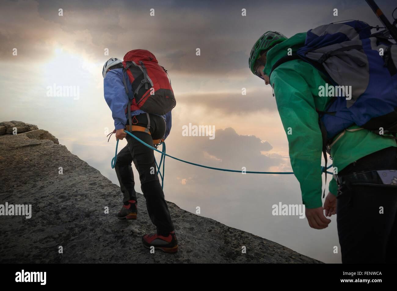 Climbers on mountain ridge, Mont Blanc, France - Stock Image