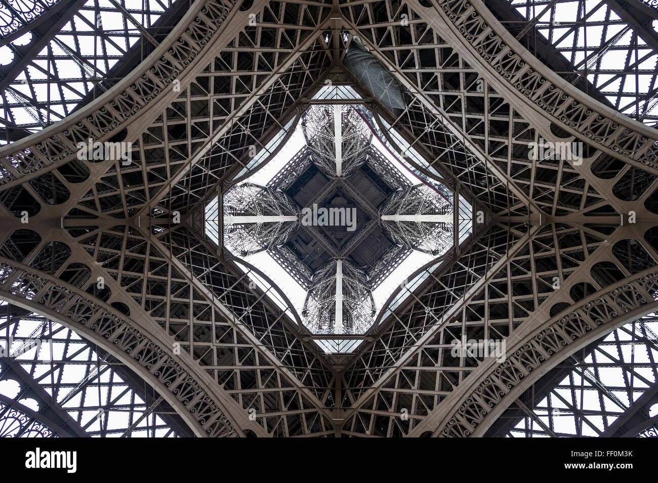 Eiffel Tower, seen from beneath, Paris, Ile-de-France, France - Stock Image