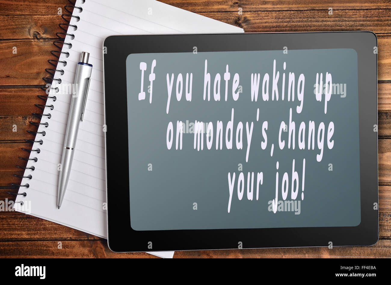 Hate monday's words on digital tablet - Stock Image