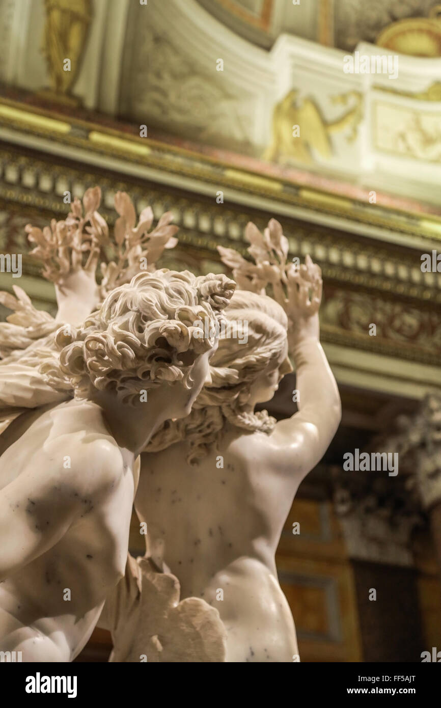 Daphne And Apollo Bernini Sculpture: Unrequited Love. Borghese Gallery. Rome, Italy - Stock Image
