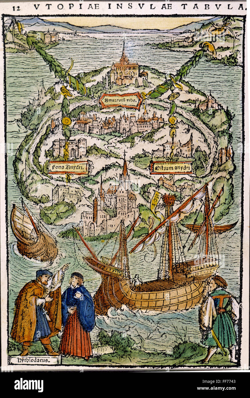 THE VIEW OF UTOPIA. /nWoodcut, probably by Ambrosius Holbein, from Sir Thomas More's 'Utopia,' Basel, Switzerland, Stock Photo