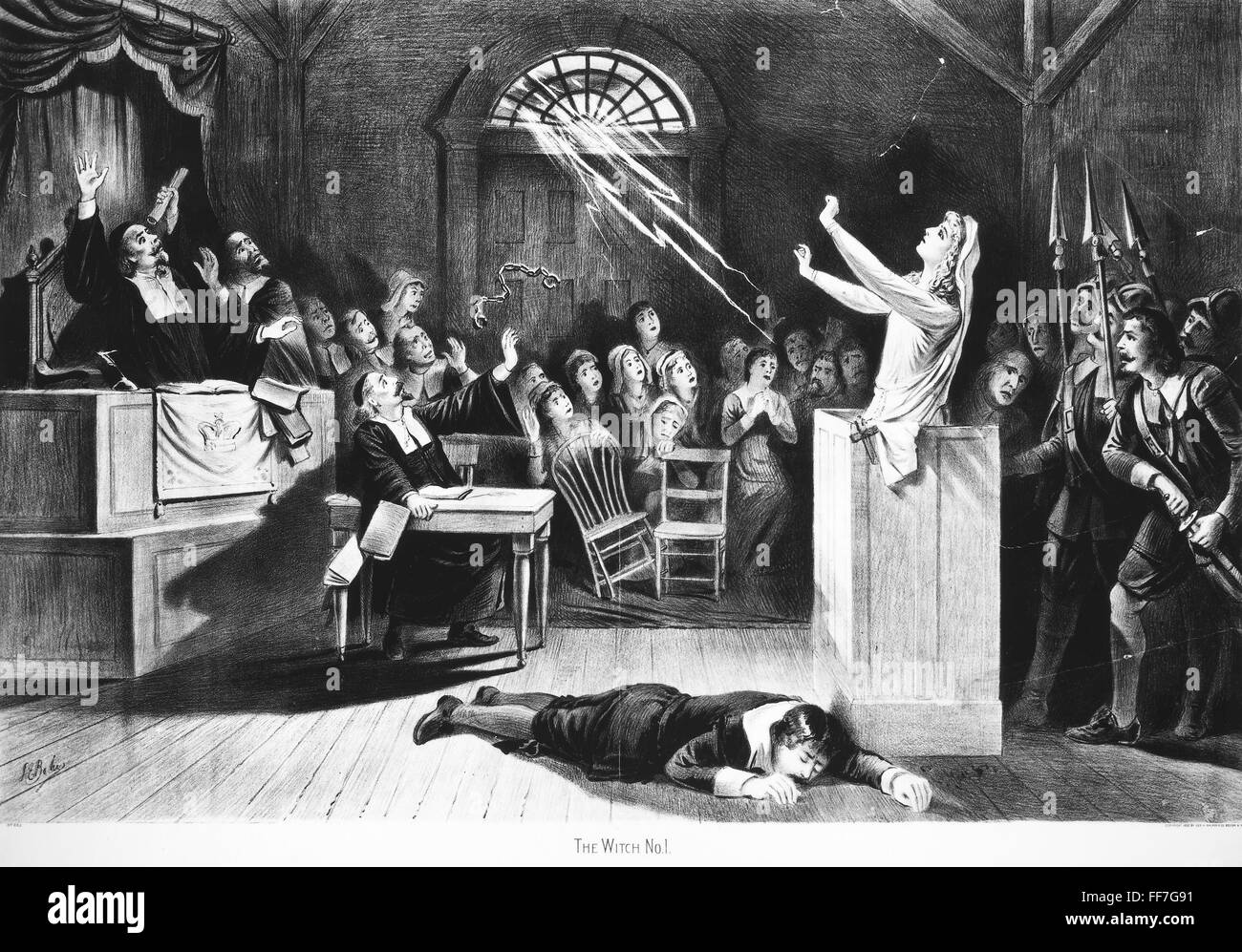 SALEM WITCH TRIAL, 1692. /nA witch trial at Salem, Massachusetts, in 1692. Lithograph, American, 1892.Stock Photo