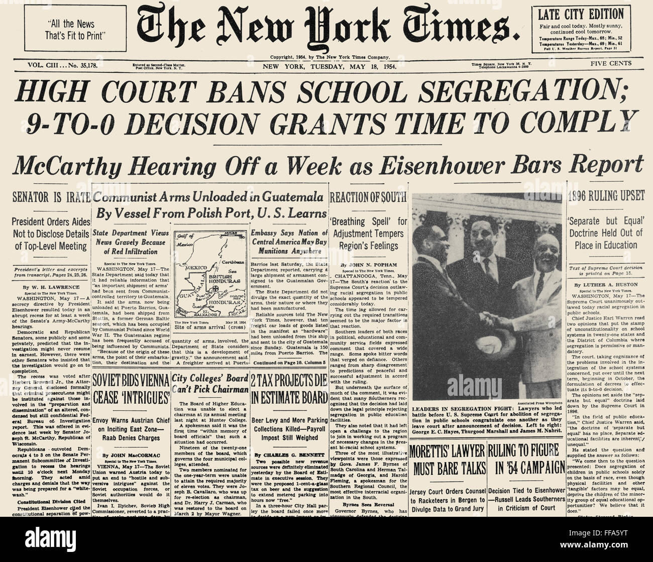 SEGREGATION HEADLINE, 1954. /nFront page of The New York Times, 18 May 1954, announcing the Supreme Court decision Stock Photo