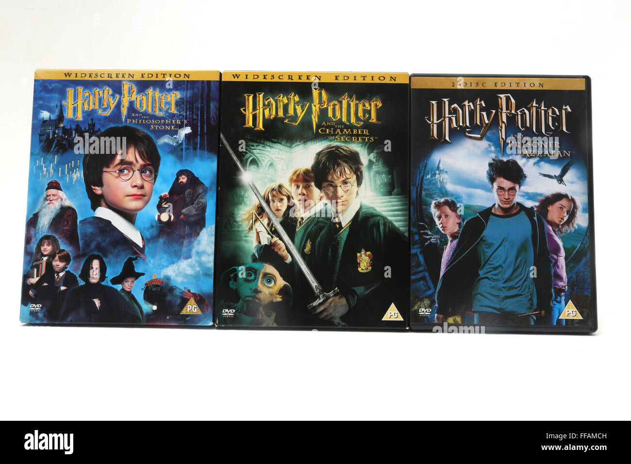 Harry Potter And The Philosopher's Stone, Harry Potter And The Chamber Of Secrets And Harry Potter And The Prisoner - Stock Image