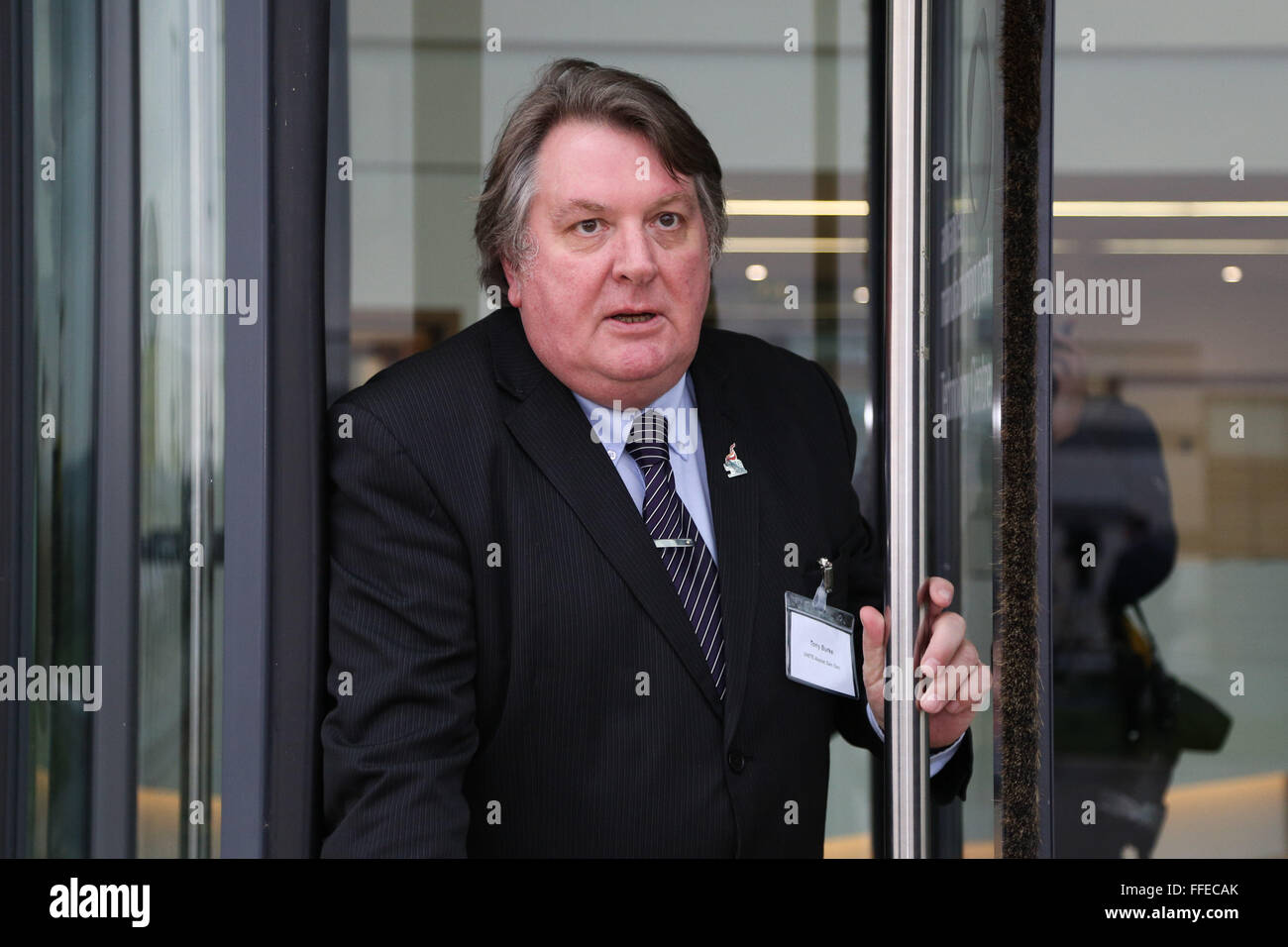 Tony Burke, assistant general secretary of Unite, leaves the Advanced Manufacturing Park in Rotherham, South Yorkshire, - Stock Image
