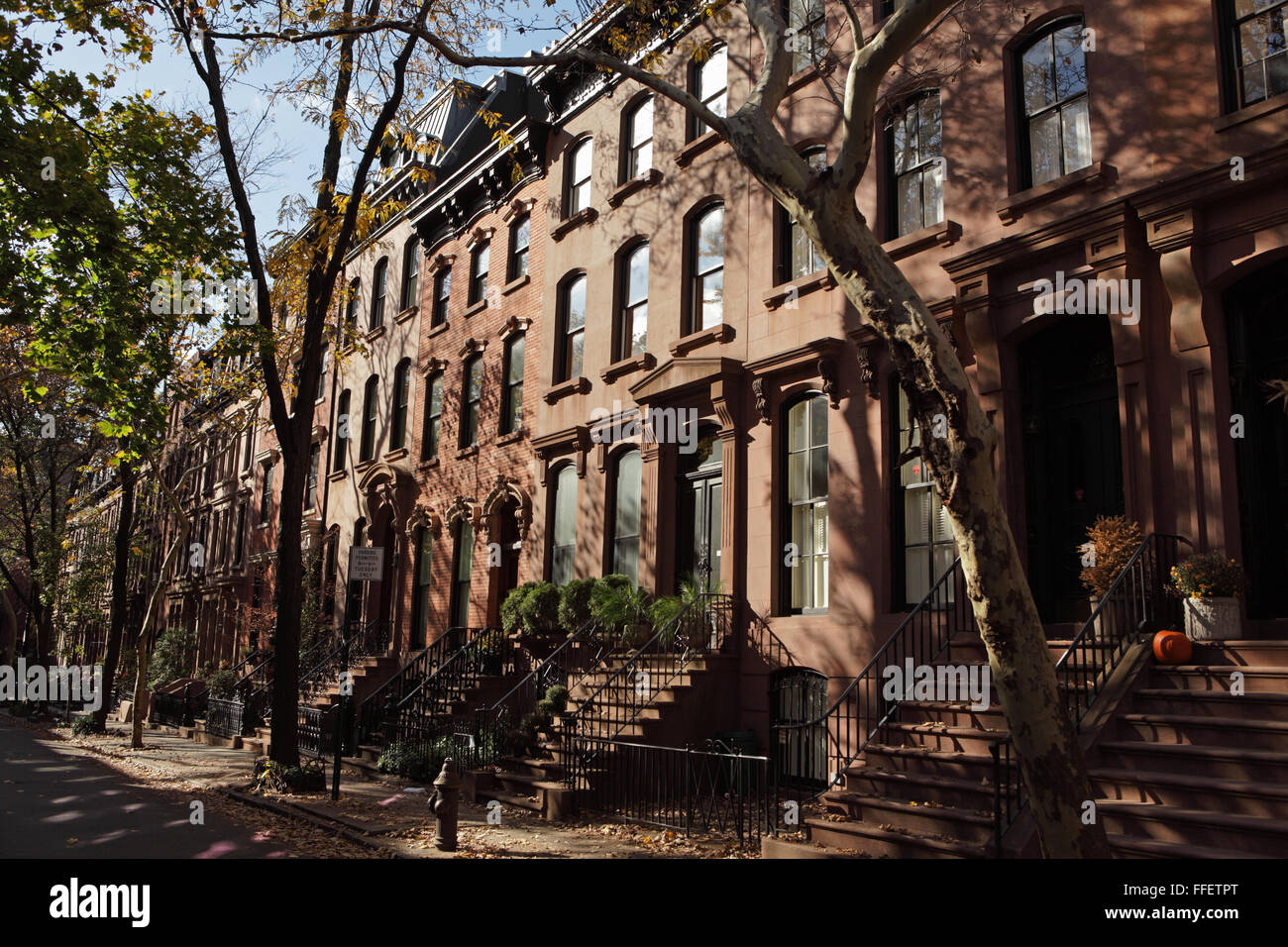 Architectural detail of brownstone townhouses on Garden Place in ...