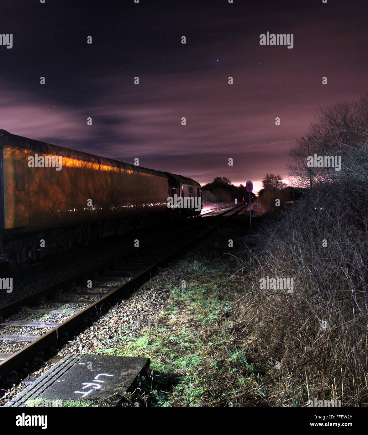 Test train at Rufford Lancashire at night - Stock Image