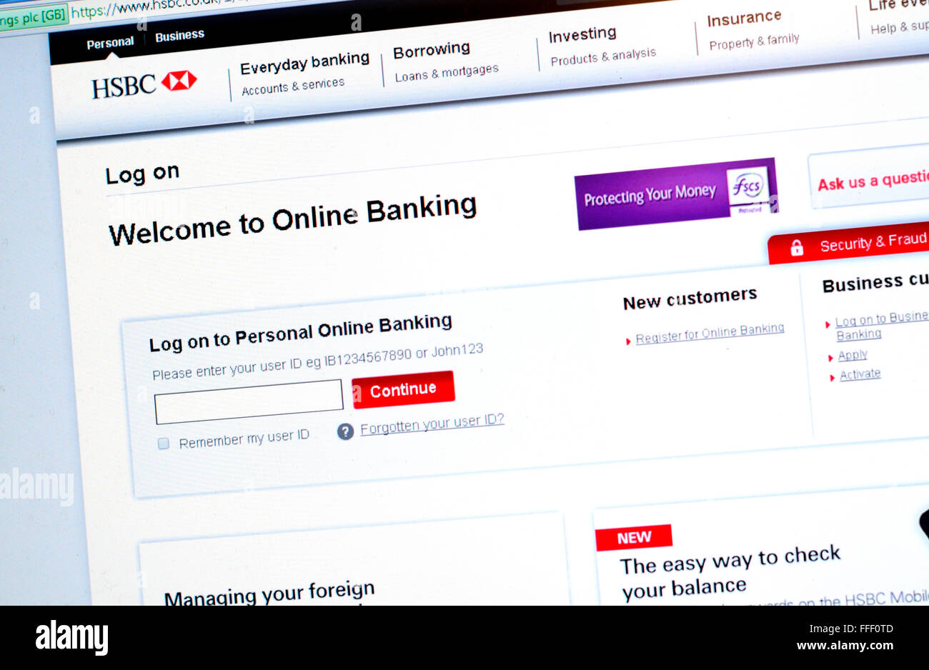 a photograph of the login page on the hsbc online banking web page
