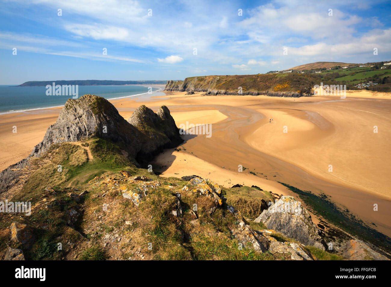 Three Cliffs Bay on the Gower Peninsular in South Wales captured from the cliffs to the East of the beach.Stock Photo