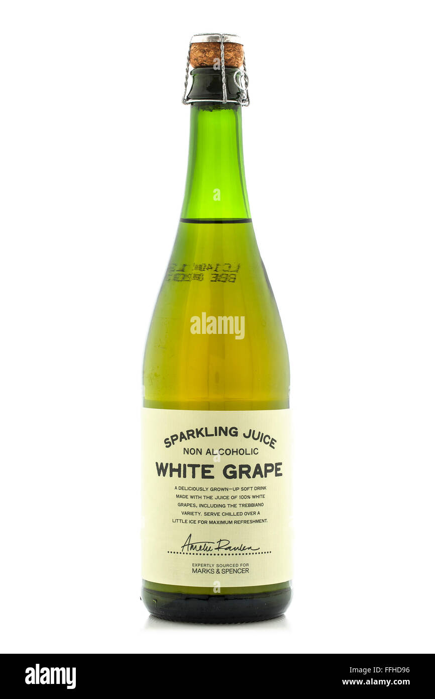 Bottle of Marks and Spencer Sparkling Non Alcoholic White Grape Juice on a White Background - Stock Image
