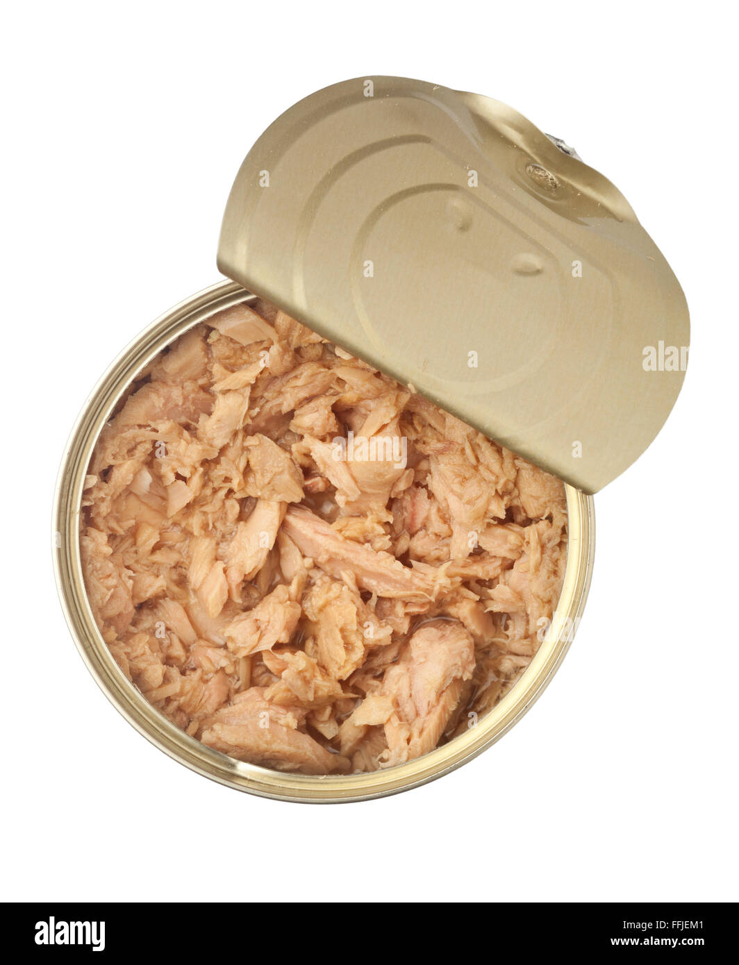 Opened can of flaked tuna isolated on white background Stock Photo