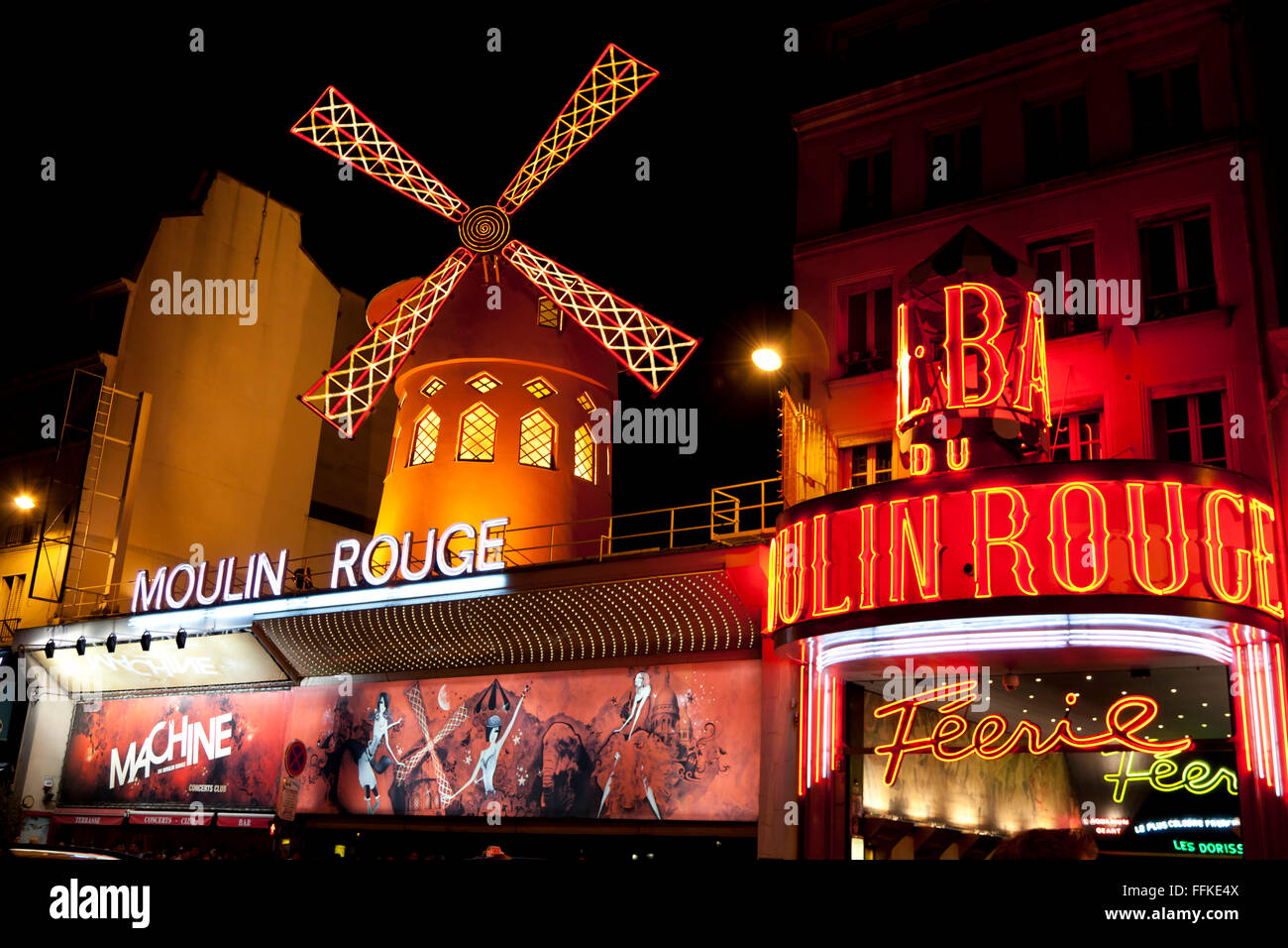 Moulin Rouge Montmartre Paris France in the evening - Stock Image