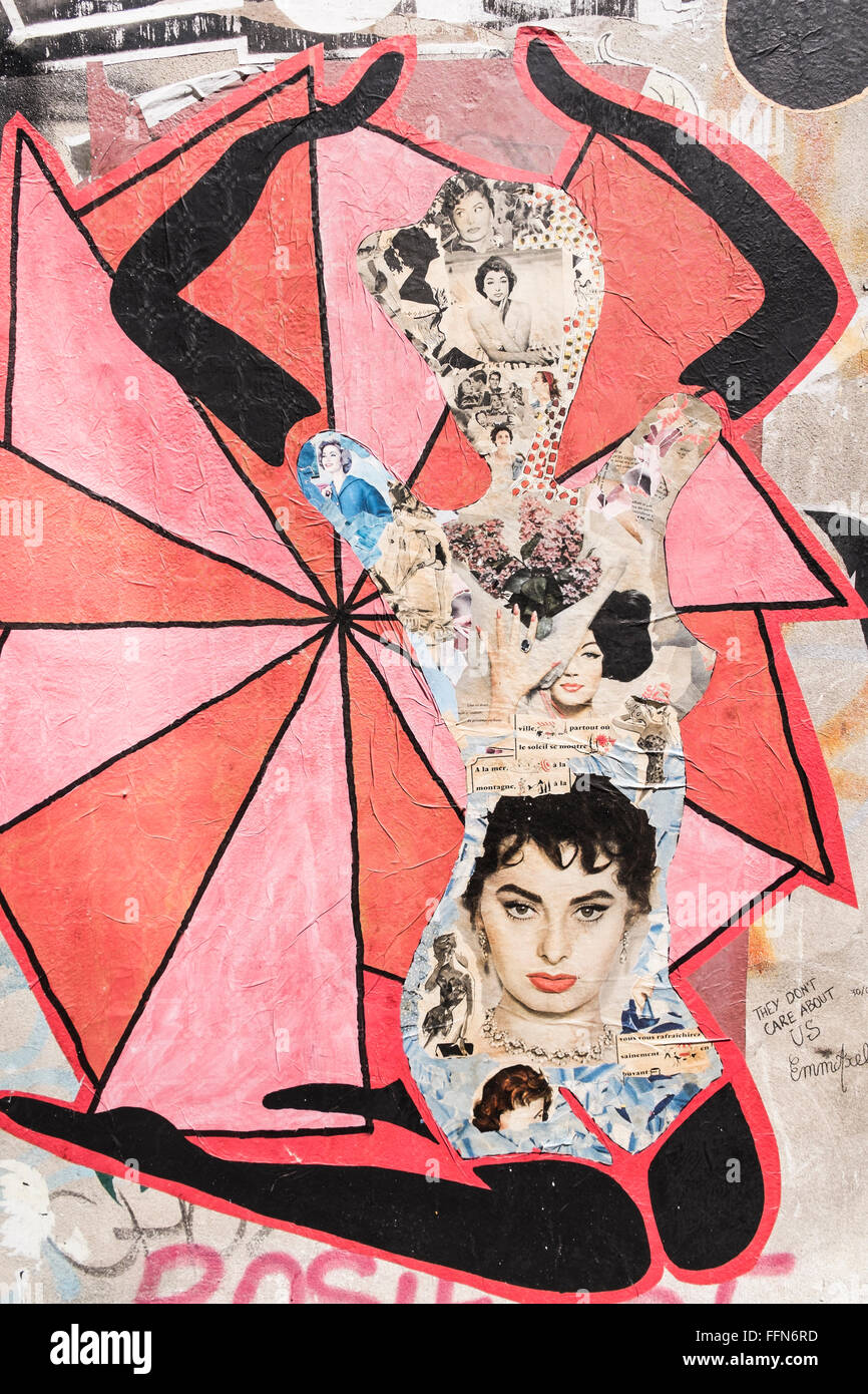 street art collage in the shape of a woman´s body made of old magazine clippings - Stock Image
