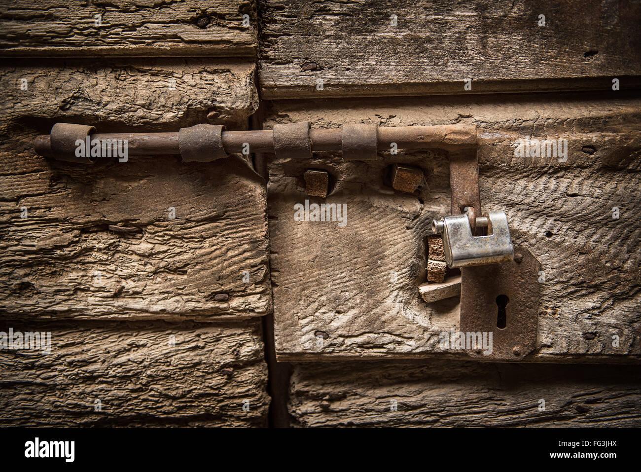 Old lock on a door Stock Photo