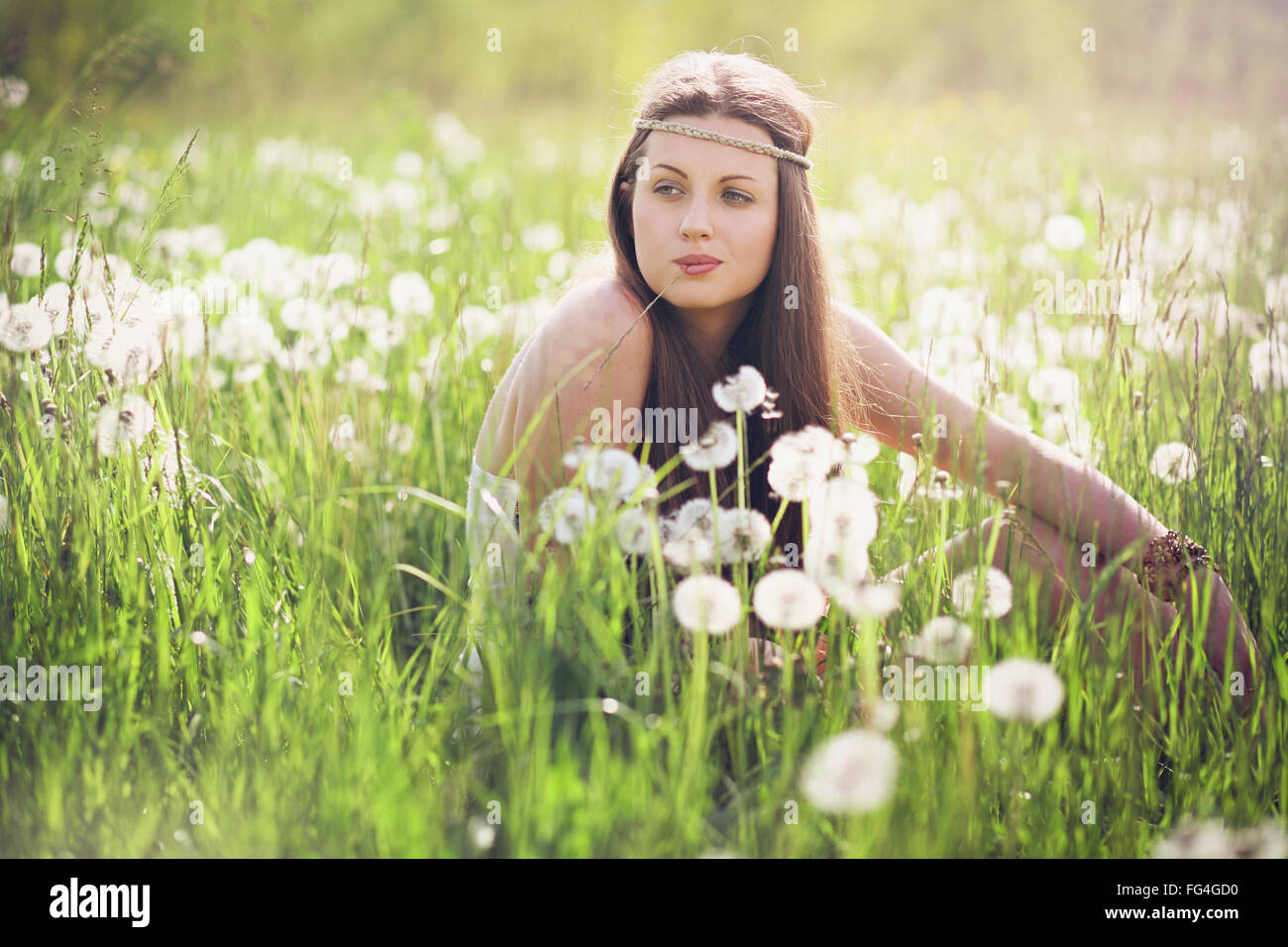 Beautiful woman with carefree expression . Nature harmony - Stock Image