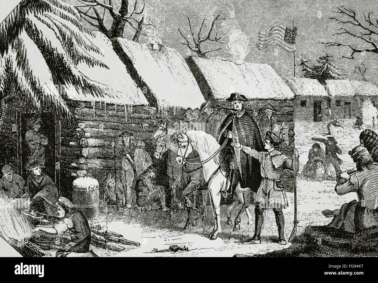 George Washington (1732-1799) visits Valley Forge (Pennsylvania), the  Continental Army's camp in winter, 1777-1778. Engraving. 19th century.