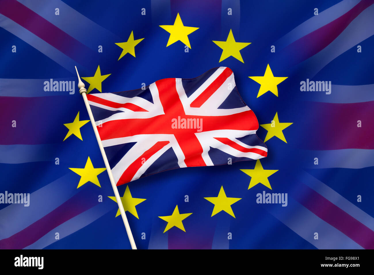 Flag of Europe and the flag of the United Kingdom - Stock Image