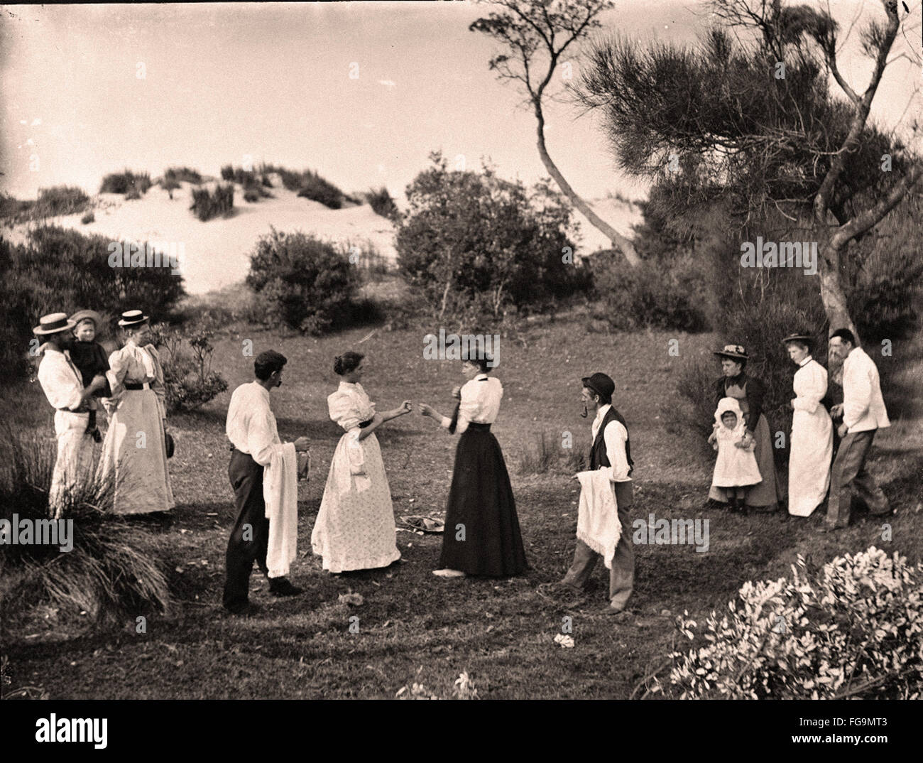 Women Boxing in Skirts and Blouses - Stock Image