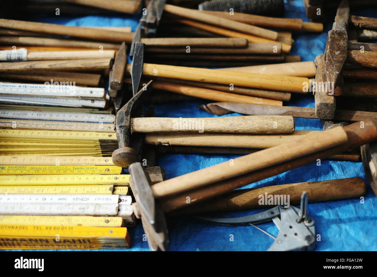 High Angle View Of Hammers At Market Stall - Stock Image