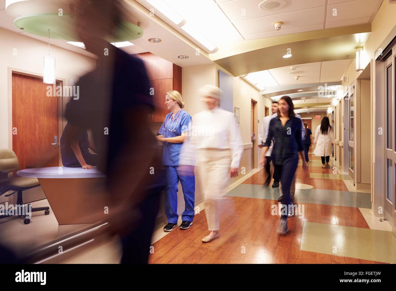 Busy Nurse's Station In Modern Hospital Stock Photo