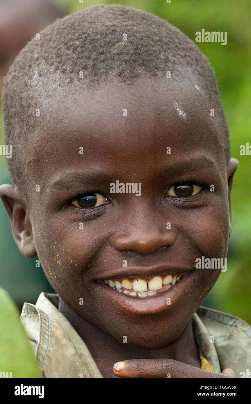 Happy looking boy, Uganda. - Stock Image