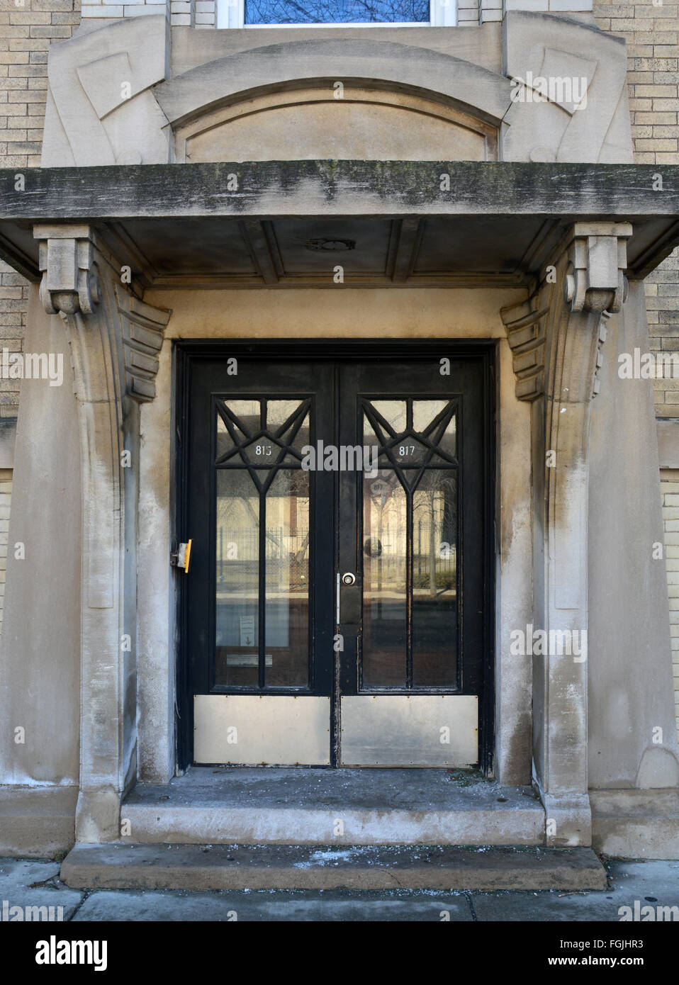 Front Doors On A 1920s Art Deco Apartment Building Close To Lake