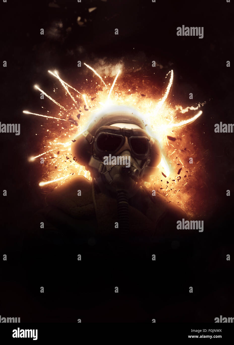 Dramatic image of a WW1 soldier wearing a vintage gas mask and helmet in action against a fiery explosion with sparks - Stock Image