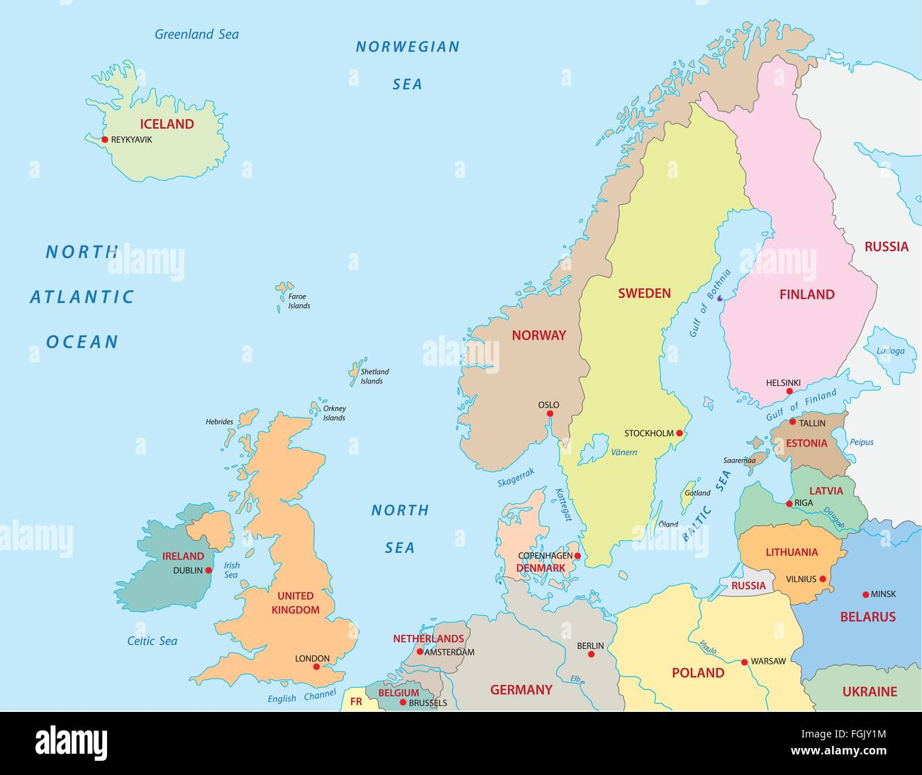 northern Europe map Stock Vector Art & Illustration, Vector Image ...