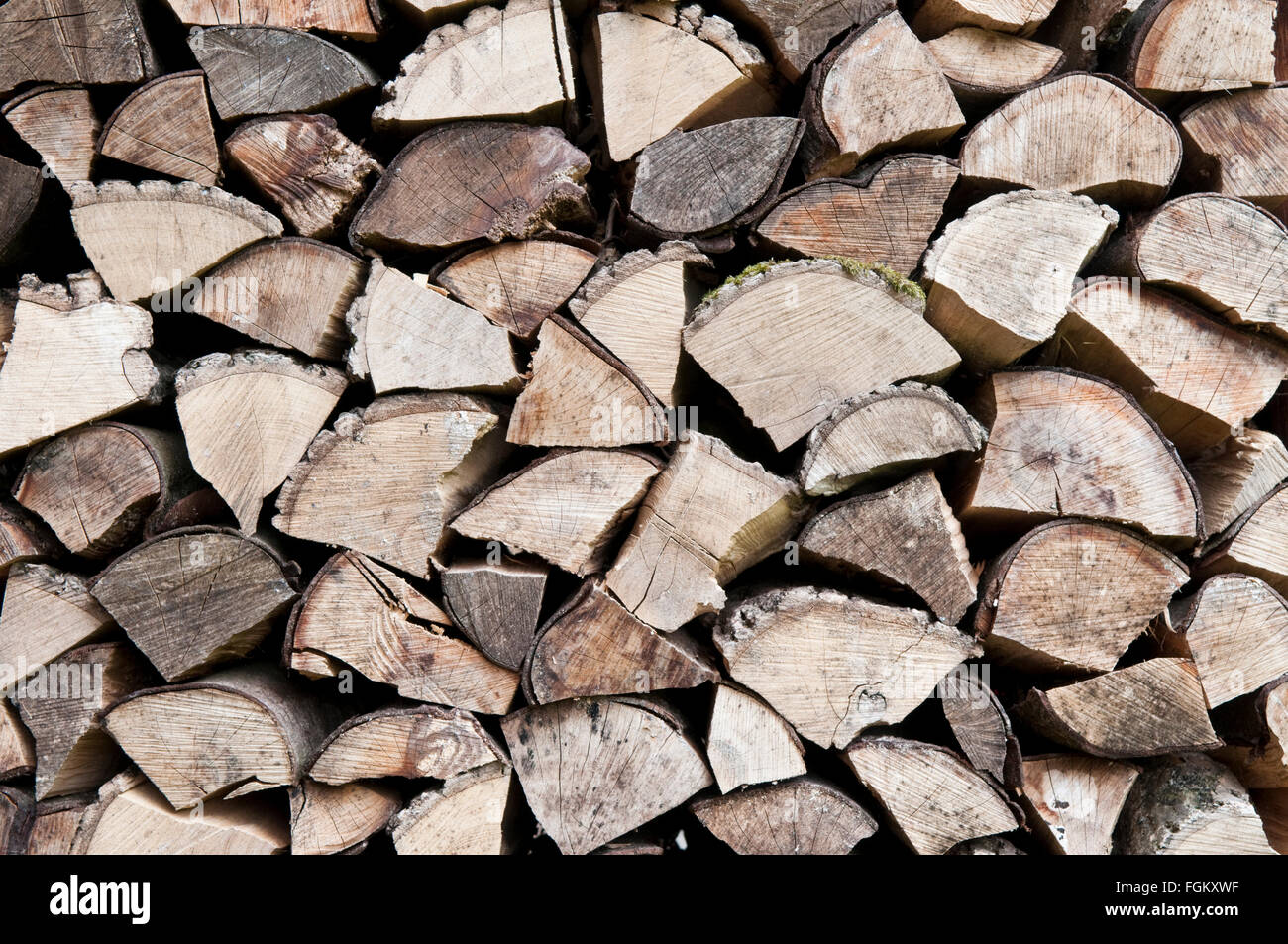 End on view of a pile of roughly chopped wooden logs Stock Photo
