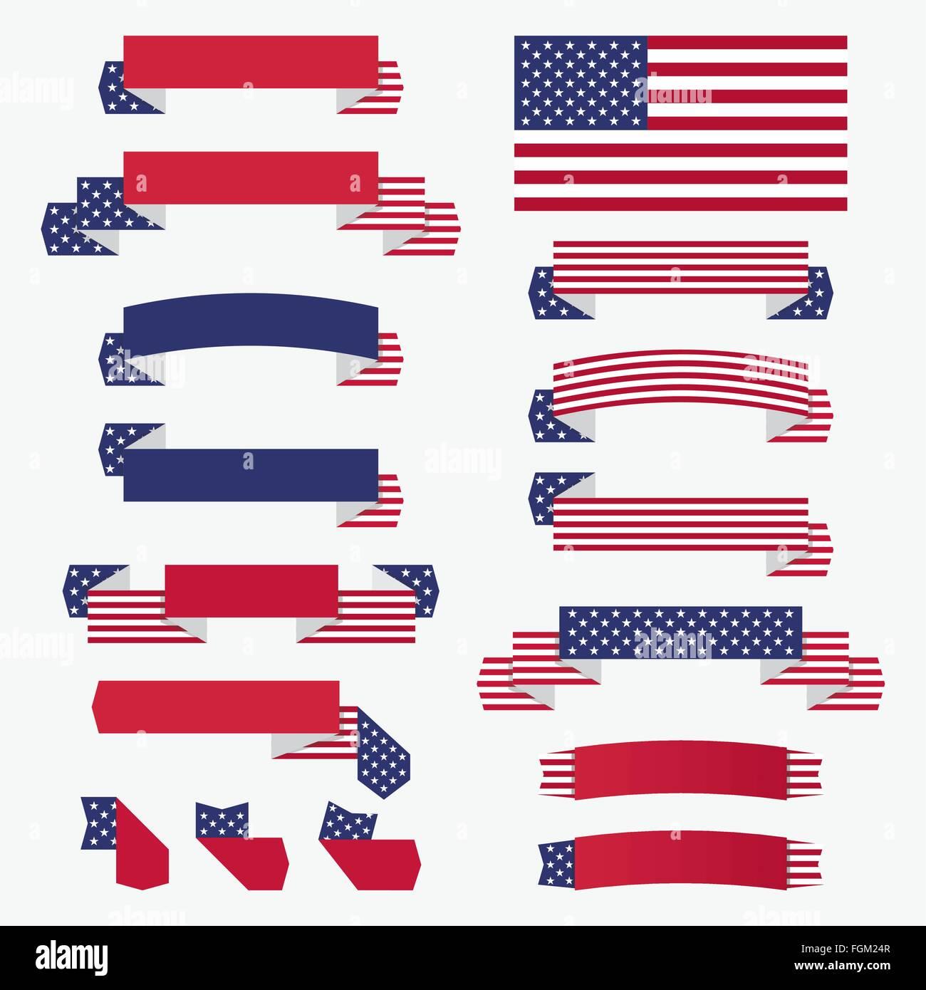 set of american usa flag banners badges and ribbons patriotic rh alamy com US Flag Vector Clip Art Texas Flag Vector
