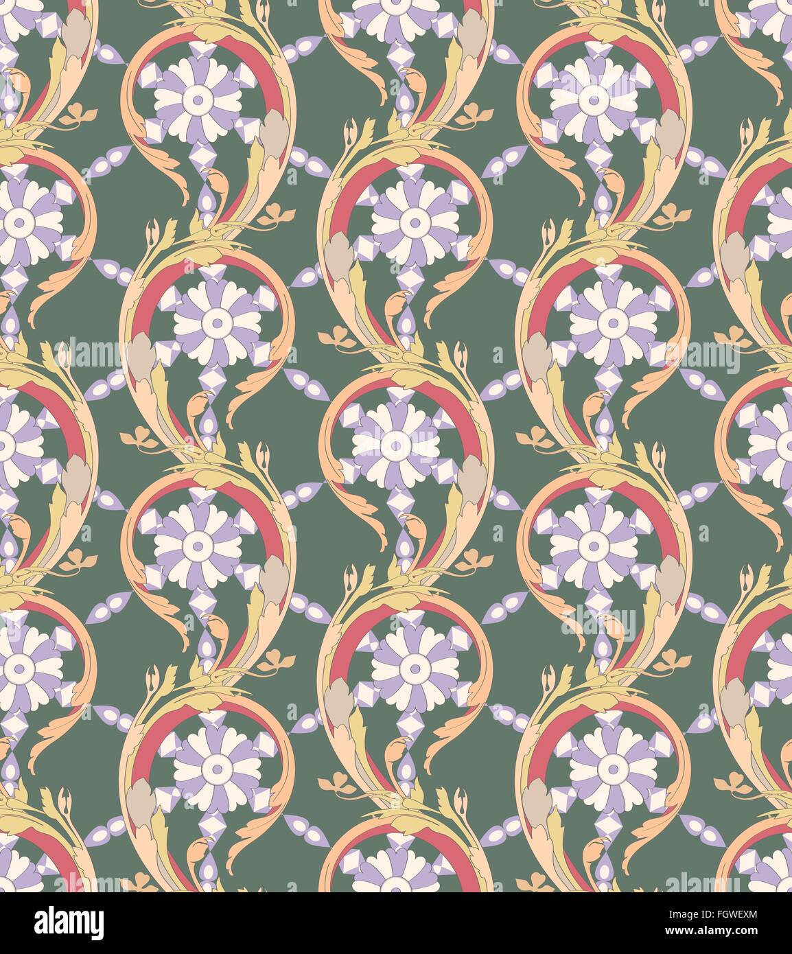Acanthus leaves - seamless pattern - Stock Image