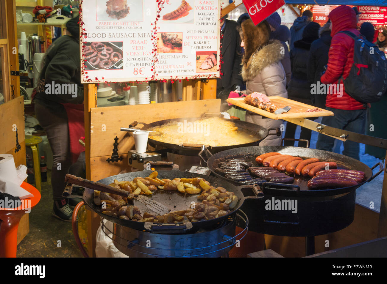 Traditional food for sale at Christmas time at Old town square (Raekoja plats) in Tallinn Estonia Stock Photo