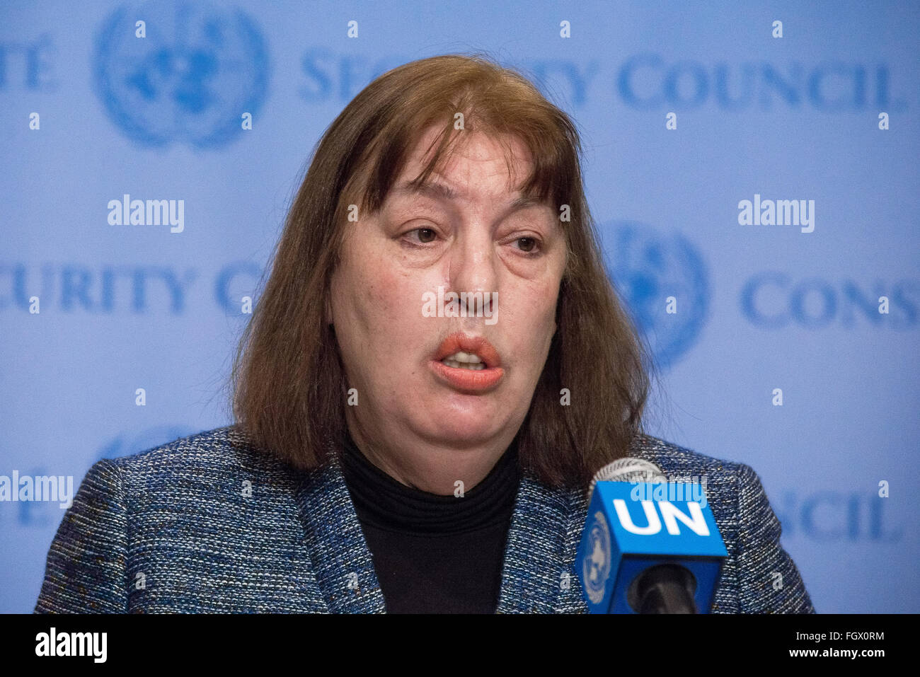 New York United States 22nd Feb 2016 Virginia Gamba Head Of The Meccanism Long Syiria Three Person Panel Comprising Joint Investigative Mechanism Speaks To Press