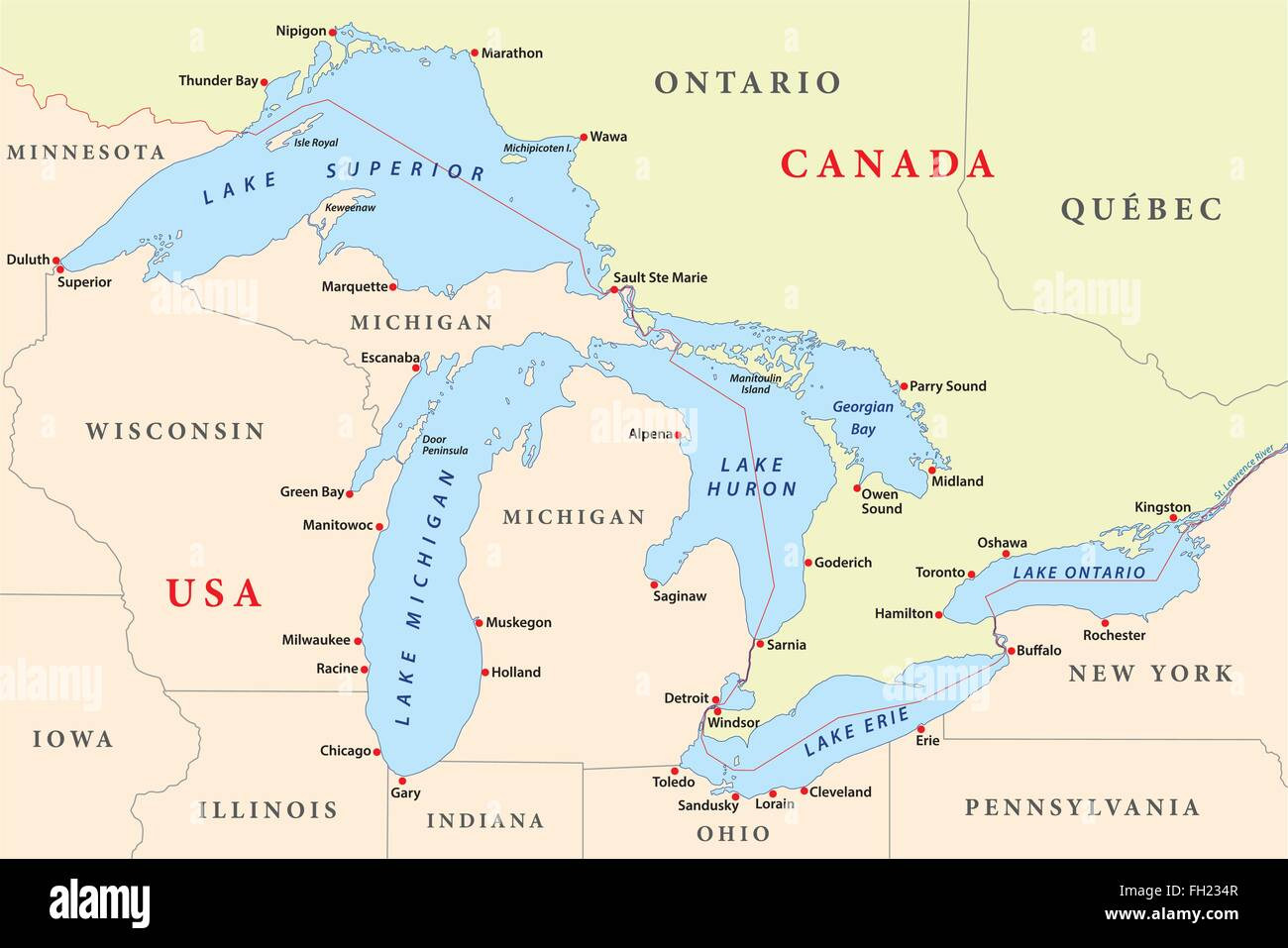 map of great lakes stock vector art illustration vector image