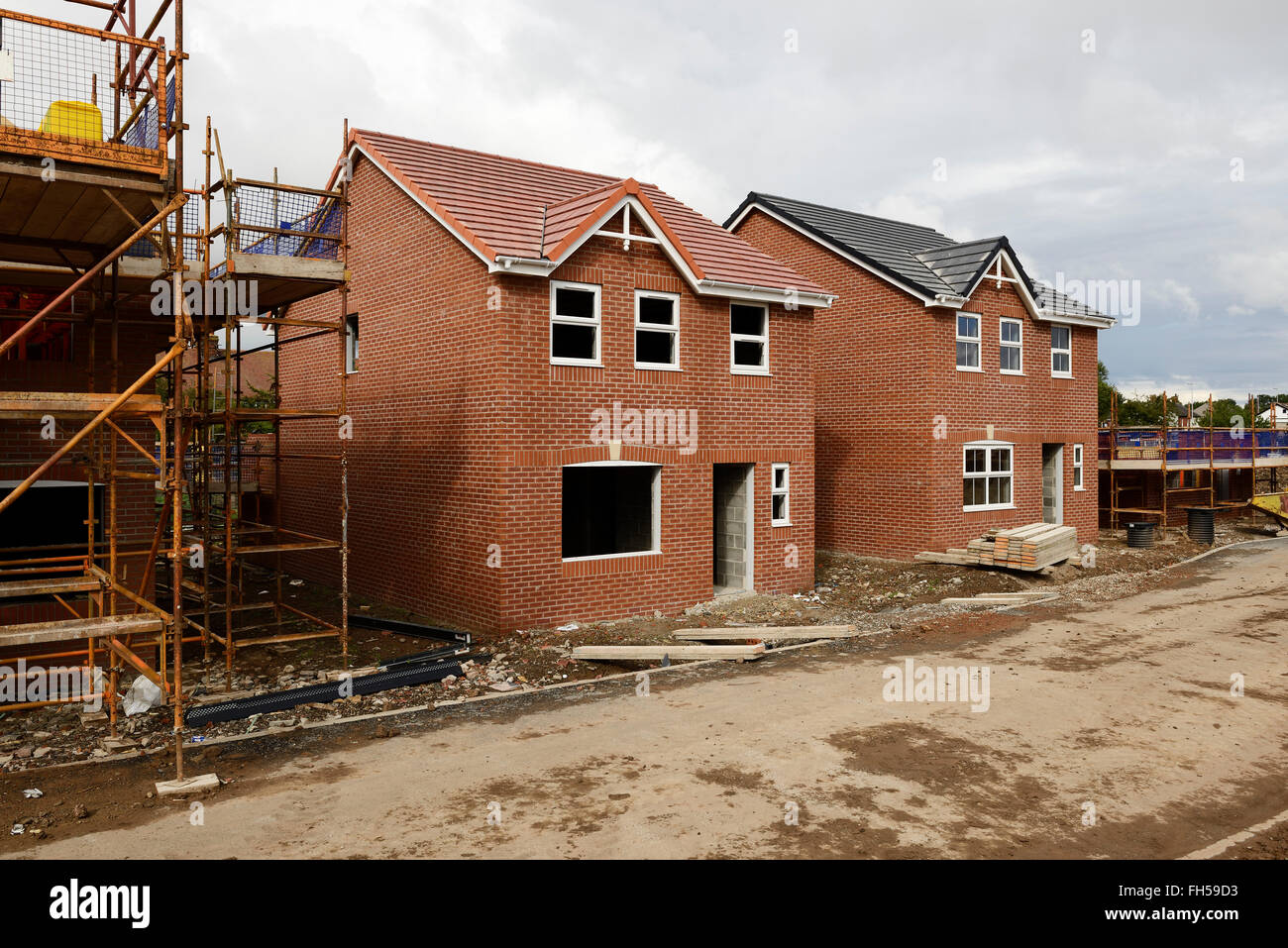 Marvelous A Construction Site Of New Build Houses In Lancashire UK