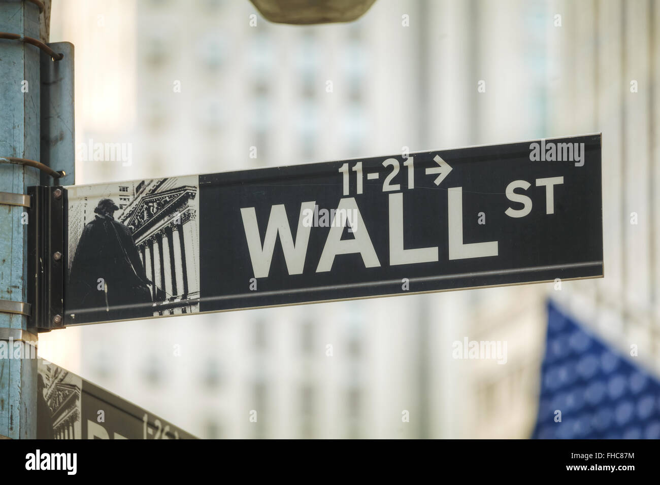 Wall street sign in New York City, USA - Stock Image