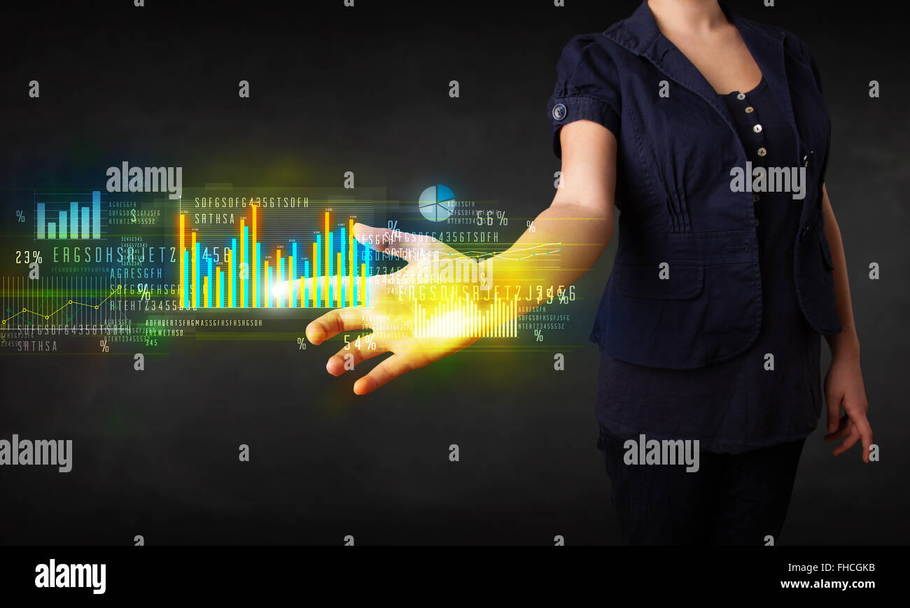 young business woman touching colorful charts and diagrams stock rh alamy com