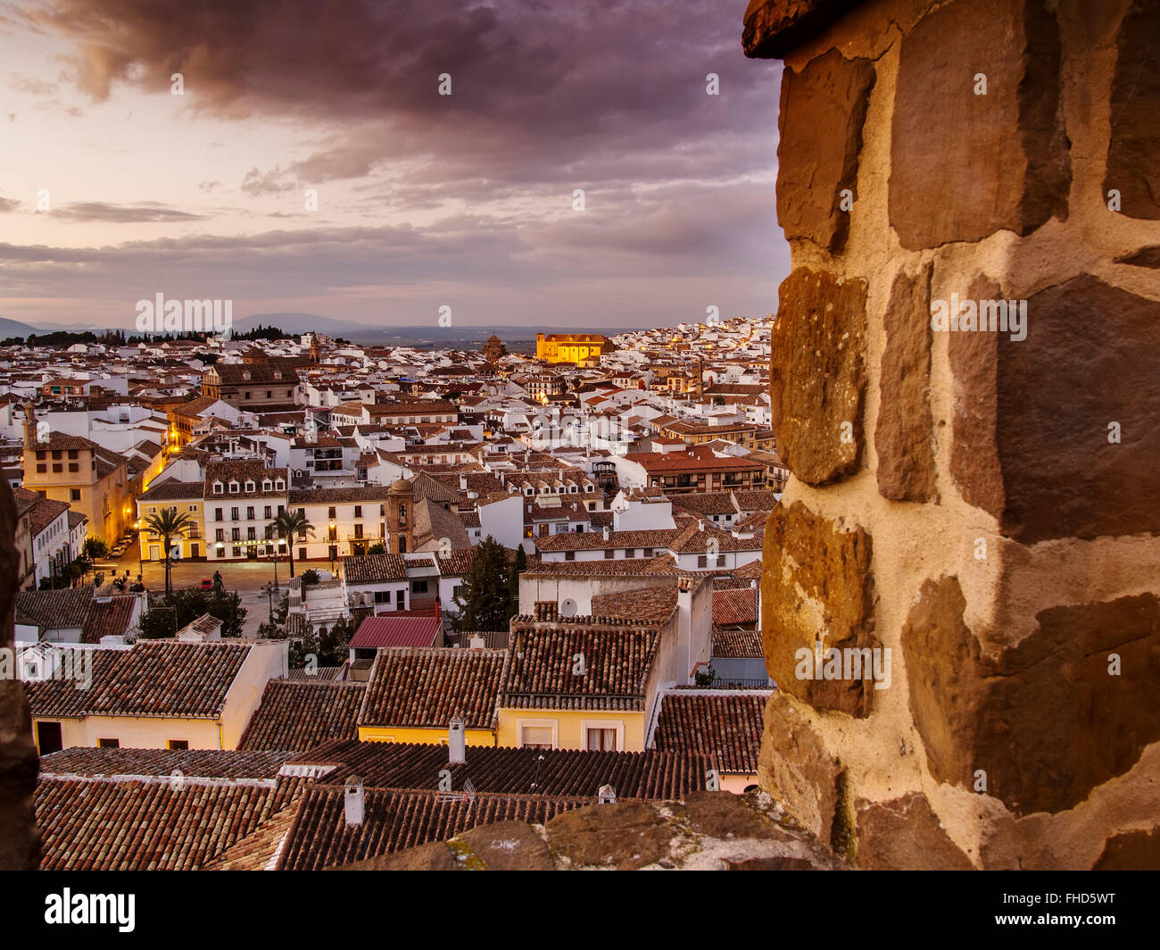 Sunset, monumental city Antequera, Malaga province. Andalusia southern Spain - Stock Image