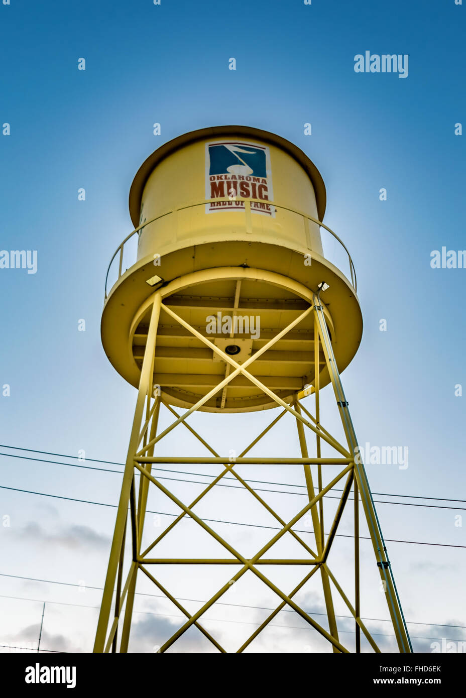 Water Tower that serves as the welcoming sign and landmark of the Oklahoma Music Hall of Fame in Muskogee - Stock Image
