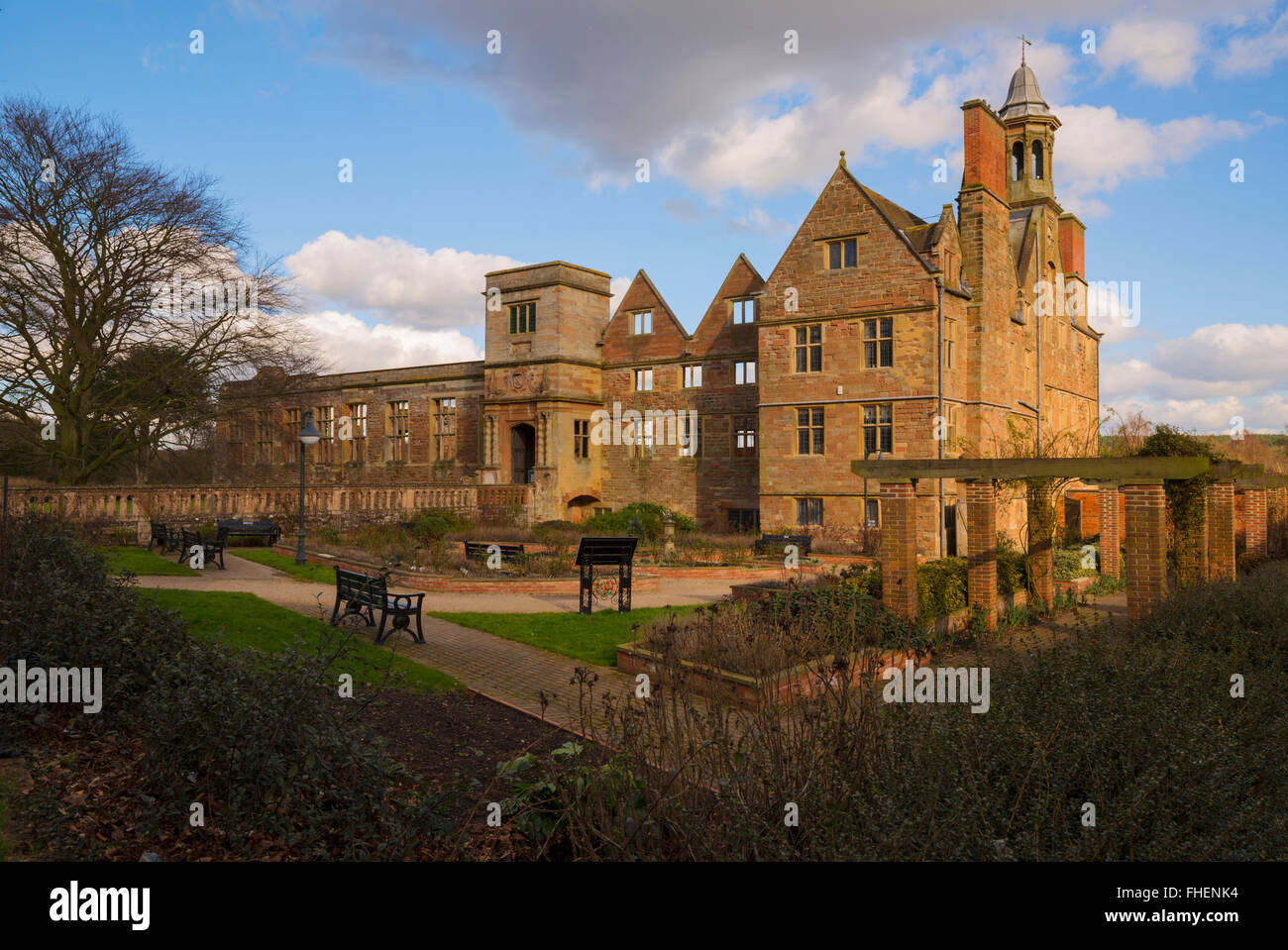 Rufford Abbey in the warm afternoon sunshine - Stock Image
