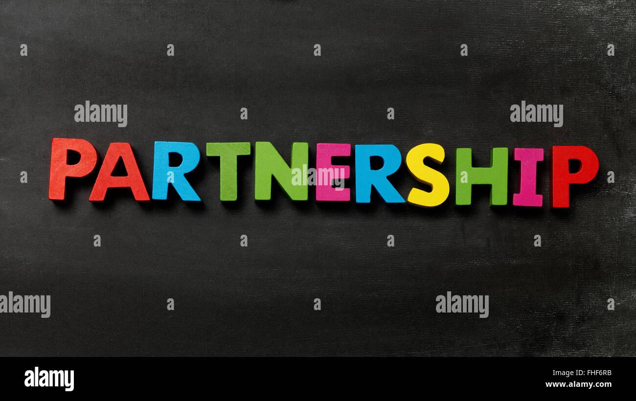 Blackboard with Partnership - Stock Image