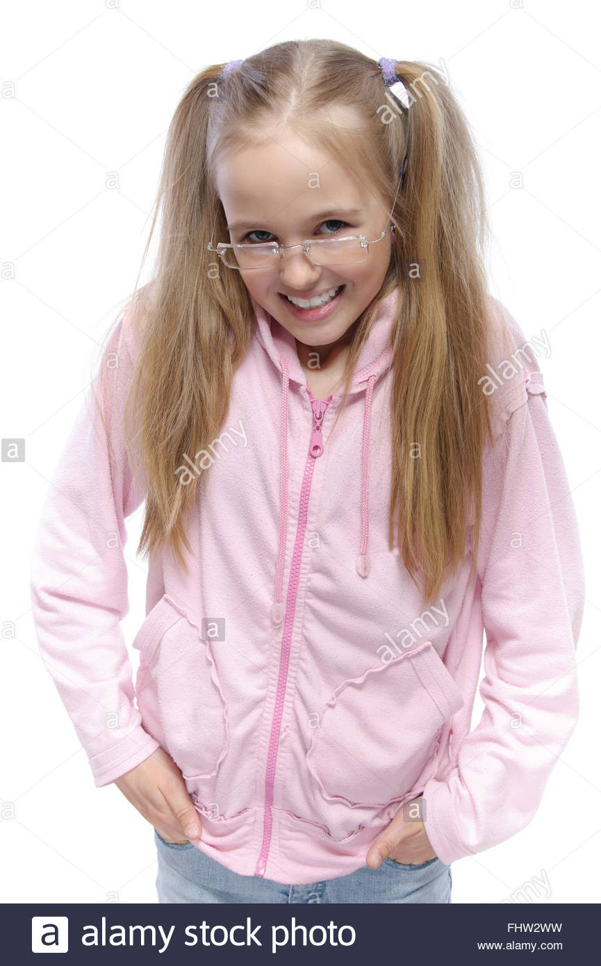 portrait of cunning smiling little girl - Stock Image