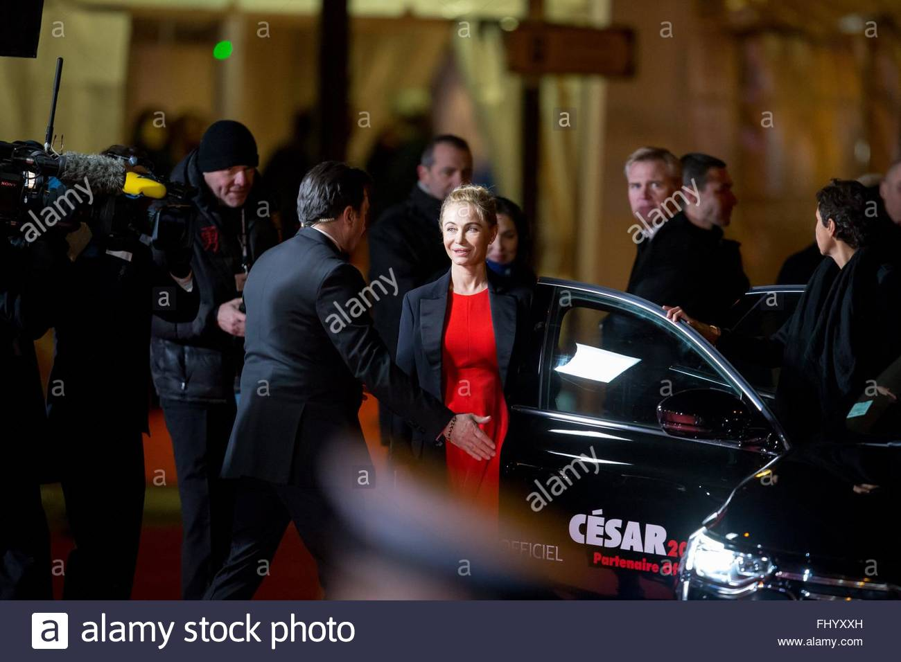 Paris, France. February 26th, 2016. FRANCE, Paris: French actress Emmanuelle Béart walks on the red carpet of the Stock Photo
