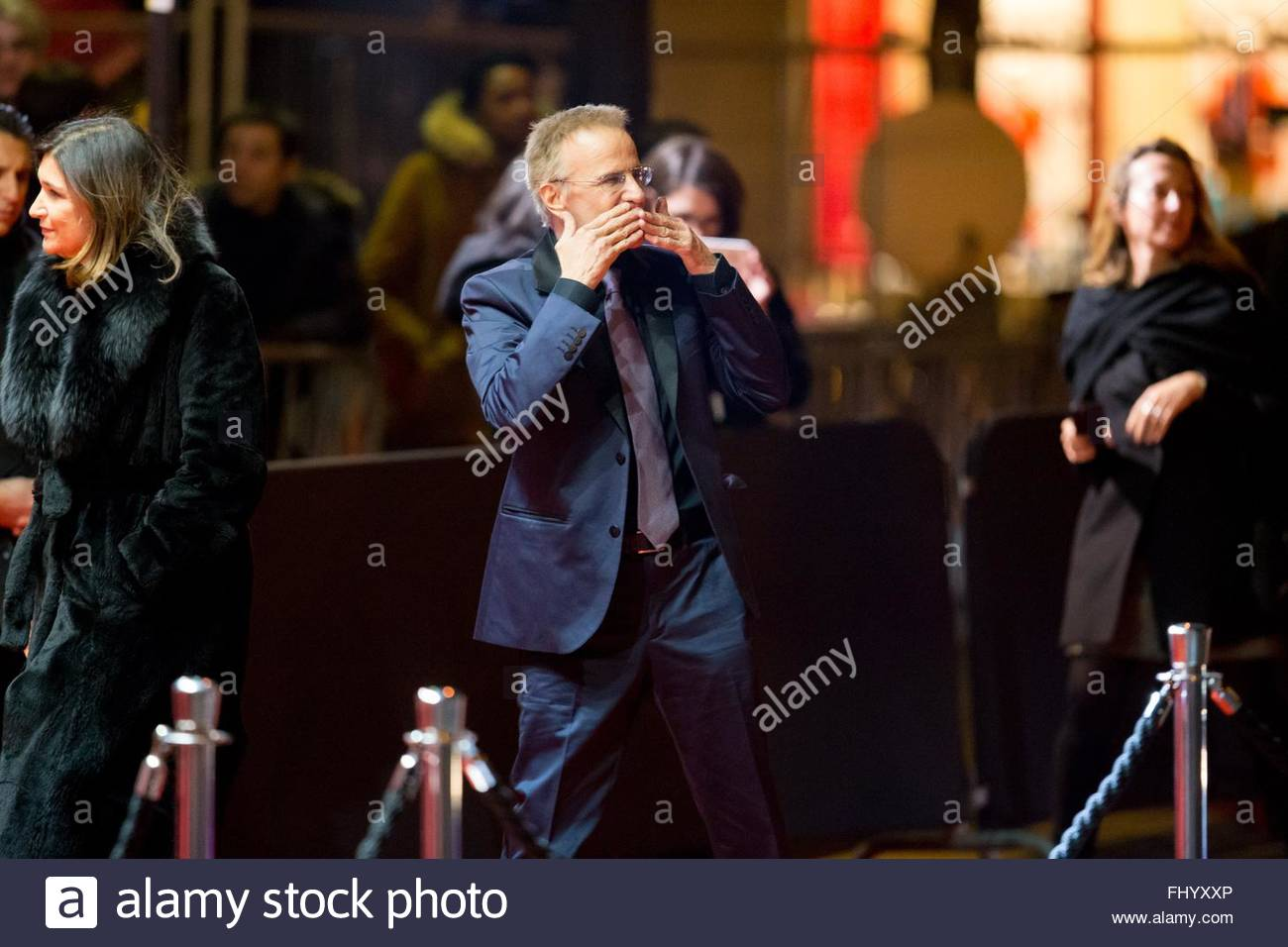Paris, France. February 26th, 2016. FRANCE, Paris: French actor Christophe Lambert walks on the red carpet of the Stock Photo