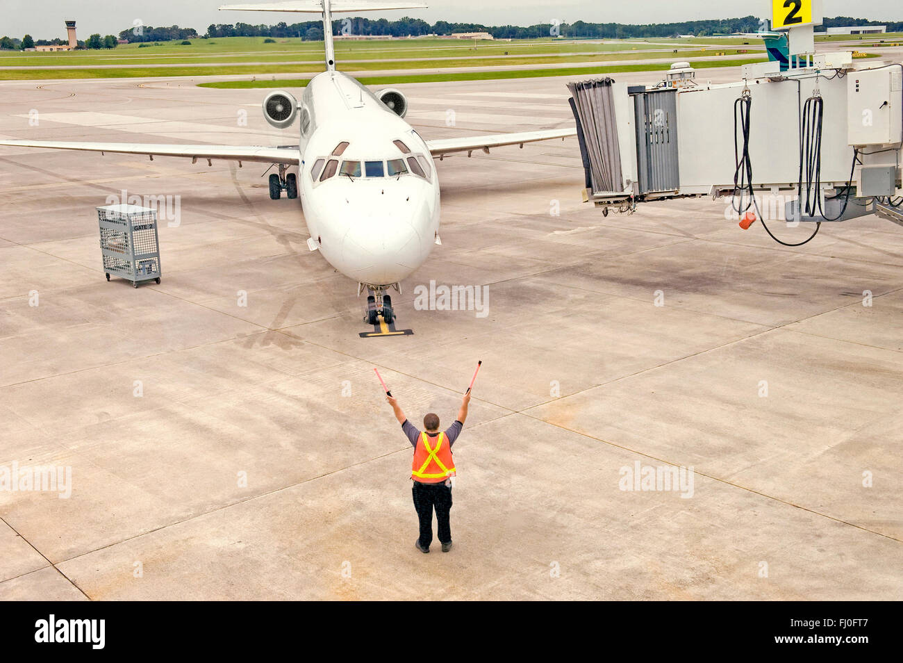 Airliner Taxiing In - Stock Image